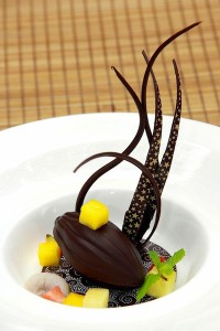 Conrad Bali-dessert-Decadent Balinese delights- Locally-supplied chocolate pod filled with tapioca pearls and passion fruit.[1][2][2][2]
